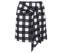 Woman Tie-front Checked Cotton And Silk-blend Mini Skirt Navy