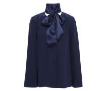 Woman Pussy-bow Silk-cady Blouse Navy