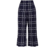 Woman Cropped Cotton-blend Jacquard Wide-leg Pants Navy