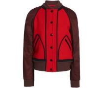 Two-tone twill-paneled wool-felt bomber jacket
