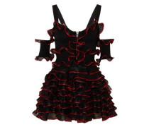 Cold-shoulder Ruffled Ribbed-knit Mini Dress Black