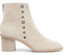 Willow Eyelet-embellished Suede Ankle Boots Beige