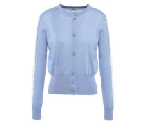 Lace-trimmed Wool-blend Cardigan Light Blue