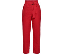 Cotton-blend Tapered Pants Red