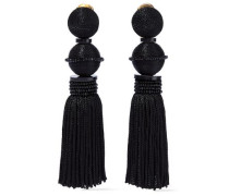 Gold-tone, Cord, Resin, Bead And Tasseled Clip Earrings Black Size --