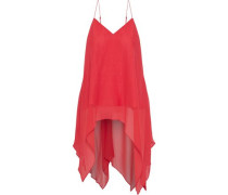 Asymmetric Draped Silk-chiffon Top Tomato Red
