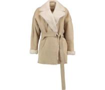 Belted shearling-trimmed suede jacket