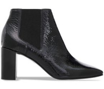 Crinkle Patent-leather Ankle Boots Black