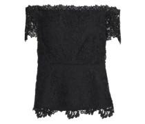 Off-the-shoulder Guipure Lace Top Black Size 0