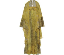 Cape-effect Embellished Metallic Floral-print Silk-chiffon Gown Sage Green