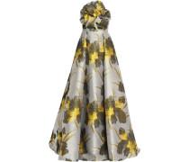 Strapless appliquéd floral-print cotton-blend jacquard gown