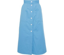 Plume Cotton-twill Midi Skirt Light Blue Size 0