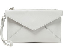 Woman Pebbled-leather Envelope Clutch Light Gray