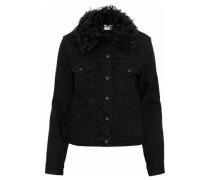 Shearling-trimmed denim jacket