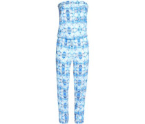 Strapless Printed Voile Jumpsuit Blue