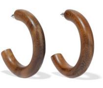 Wood silver-tone hoop earrings