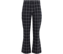 Checked Cotton-blend Kick-flare Pants Black