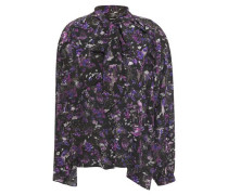 Woman Equinoxe Pussy-bow Printed Silk Crepe De Chine Blouse Violet