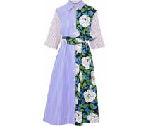 Striped Cotton-poplin And Floral-print Twill Midi Shirt Dress Light Blue