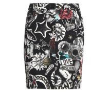 Printed denim skirt