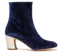 Woman Leather-trimmed Velvet Ankle Boots Indigo