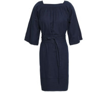 Belted Gathered Chambray Mini Dress Navy
