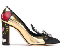 Embellished Printed Smooth And Metallic Leather Pumps Gold