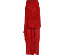 Layered Draped Printed Silk-chiffon Wide-leg Pants Claret Size 12