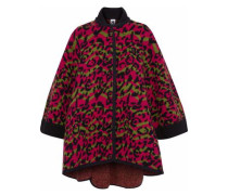 Jacquard-knit wool cape