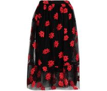 Embroidered cotton-blend tulle midi skirt