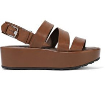 Woman Leather Platform Sandals Brown