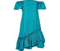 Minella off-the-shoulder ruffled satin-shell mini dress