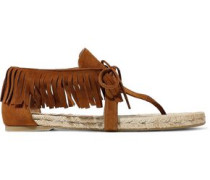 Ione Fringed Suede Sandals Brown
