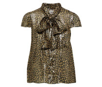 Woman Jeannie Pussy-bow Printed Silk-blend Lamé Blouse Gold