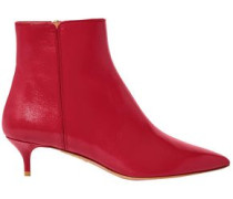 Woman Leather Ankle Boots Red