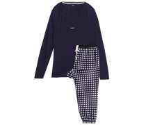 Checked fleece and stretch-modal jersey pajama set