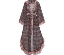 Metallic Ruffle-trimmed Printed Silk-chiffon Kimono Navy