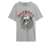 Woman Printed Cotton-jersey T-shirt Gray