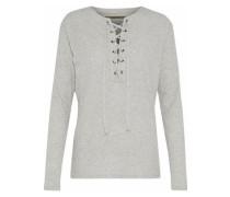 Lace-up Mélange Cotton And Cashmere-blend Top Light Gray