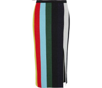 Metallic Striped Wool-blend Skirt Multicolor
