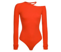Lawrence Cutout Ribbed Modal-blend Jersey Thong Bodysuit Tomato Red