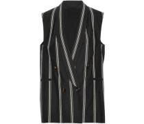 Double-breasted sequin-embellished cotton-blend vest