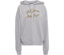 Printed French Cotton-terry Hooded Sweatshirt Gray