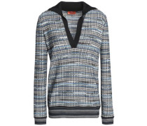 Checked Jacquard-knit Wool-blend Sweater Black