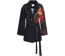 Belted printed cloqué jacket