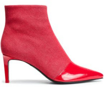 Denim And Patent-leather Ankle Boots Red