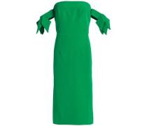 Brit off-the-shoulder bow-embellished cady dress