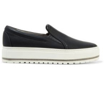 Chain-trimmed leather platform slip-on sneakers