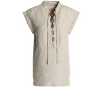 Lace-up chain-embellished linen tunic