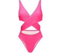The Poppy cutout wrap-effect swimsuit
